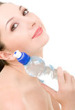 Pretty woman with bottle of water Stock Photography