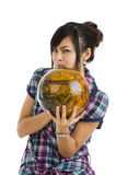 Pretty woman with bowling ball stock photos