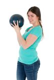 Pretty woman with bowling ball isolated on white Royalty Free Stock Photography