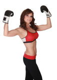 Pretty woman with boxe gloves Royalty Free Stock Photo