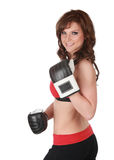 Pretty woman with boxe gloves Royalty Free Stock Photography