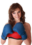 Pretty woman with boxe gloves Royalty Free Stock Images