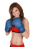 Pretty woman with boxe gloves Stock Photos