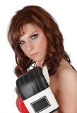 Pretty woman with boxe gloves Stock Photography