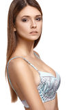 Pretty woman in bra, isolated on white background Royalty Free Stock Photo