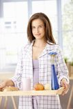Pretty woman with breakfast tray Royalty Free Stock Photo