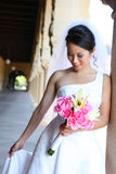 Pretty Woman Bride at Church Stock Images