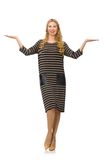 Pretty woman in brown dress isolated on the white Royalty Free Stock Images