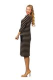 Pretty woman in brown dress isolated on the white Royalty Free Stock Photography