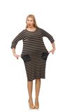 Pretty woman in brown dress isolated on the white Royalty Free Stock Photos