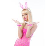 Pretty woman in bunny ears with handcuffs Royalty Free Stock Photos