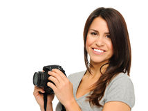Pretty woman with camera Royalty Free Stock Image