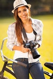 Pretty woman camera Stock Images