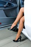 Pretty woman in car royalty free stock photos
