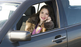 Pretty woman in the car Stock Photos
