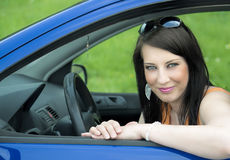Pretty woman in the car Royalty Free Stock Photography