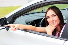 Pretty woman in car Royalty Free Stock Photo