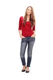 Pretty woman in casual clothes poisng on white background Royalty Free Stock Images