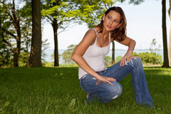 Pretty Woman In Casual Clothing Stock Images
