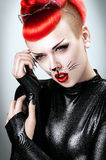 Pretty woman with cat makeup Royalty Free Stock Photo