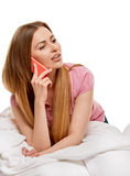 Pretty woman chatting on mobile smiling Royalty Free Stock Images
