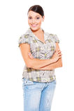 Pretty woman in checked blouse Stock Photography