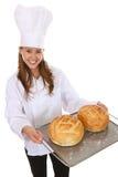 Pretty Woman Chef Holding Bread Stock Image