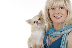 Pretty woman with chihuahua dog. Isolated on white Royalty Free Stock Photos