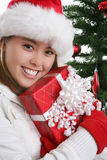 Pretty Woman at Christmas Royalty Free Stock Photography