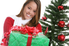 Pretty Woman at Christmas Stock Photos