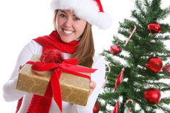 Pretty Woman at Christmas Stock Images