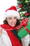 Pretty Woman at Christmas Royalty Free Stock Photos