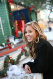 Pretty Woman at Christmas Display Stock Photos