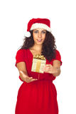 Pretty woman in Christmas with a gift Stock Photography