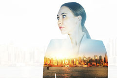 Pretty woman on city background Stock Image