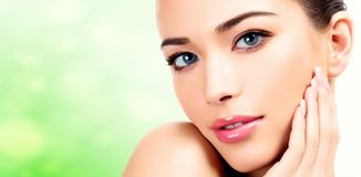 Pretty woman with clean and fresh skin. stock photography