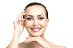 Pretty woman with clean and fresh skin royalty free stock photo