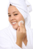 Pretty Woman Cleaning Face Royalty Free Stock Photos