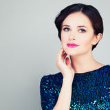 Pretty Woman with Clear Skin and Makeup Stock Image