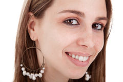 Pretty Woman Close up. Closeup portrait of a beautiful woman, smiling. Studio shot, over white background stock image