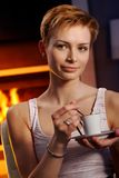 Pretty woman with coffee Royalty Free Stock Images