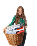 Pretty woman with the collected dried clothes Stock Image