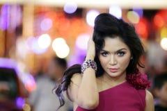 Pretty woman on colorful background. Portrait of pretty woman on colorful background Stock Photo