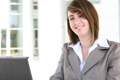 Pretty Woman on Computer Royalty Free Stock Photos