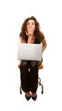 Pretty Woman with computer Royalty Free Stock Image