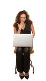 Pretty Woman with computer Royalty Free Stock Images