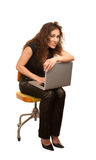 Pretty Woman with Computer stock photography
