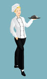 Pretty woman cook chief. Holding tray in her hand Stock Photo