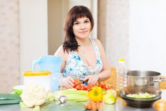 Pretty woman cooking the vegetables Stock Photos