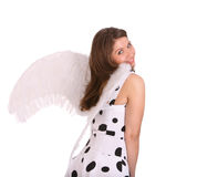 Pretty woman in costume of angel. Royalty Free Stock Photo